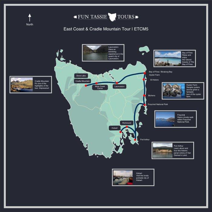 Fun Tassie Tours Maps 5 Day Tour