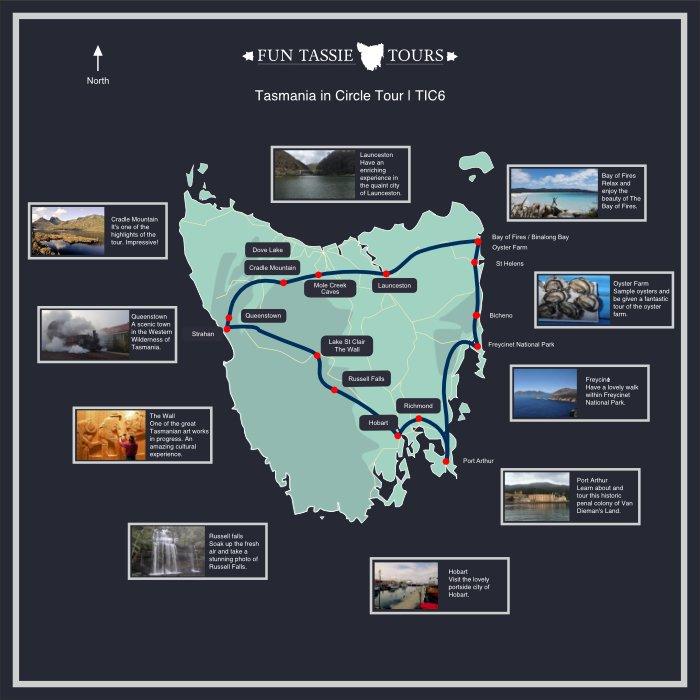 Fun Tassie Tours Maps 6 Day Tour