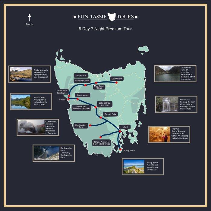 Fun Tassie Tours Maps 8 Day Tour